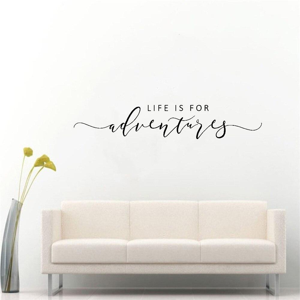 Настенная Наклейка с надписью Life is for Adventures, наклейка на стену, цитата, вдохновляющая виниловая настенная декор, цитата, украшение для путешествия
