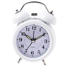 White Metal Double Bell Alarm Clocks Vintage Retro Luminous Silent Clocks Bedside Desk Home Decoration Alarm Clock