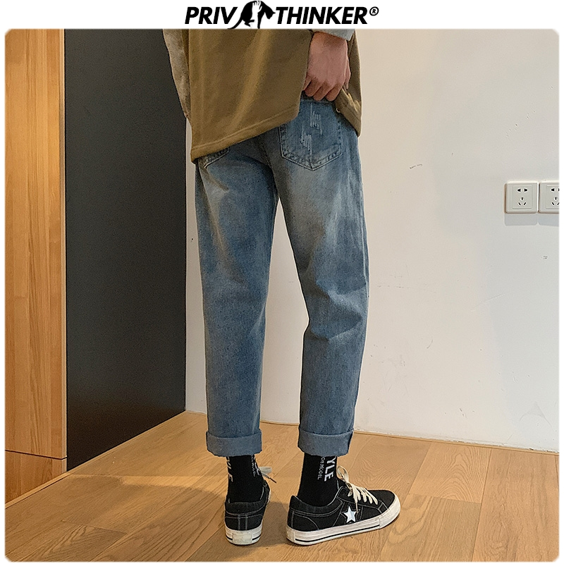 Privathinker Men Vintage Jeans Harem Pants 2020 Mens Japan Streetwear Shredded Patchwork Denim Pants Male Loose Blue Jeans 3XL