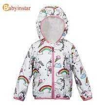 Babyinstar 2020 New Rainbow and Unicorn Printed Jacket for Toddler Girls Outerwear Children's Casual Hooded Jacket Child Outwear(China)