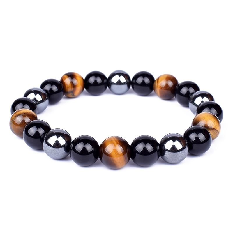 Tiger Eye & Hematite Bracelets Men 10mm Natural Obsidian Beads Bracelets for Women Protection Magnetic Health Jewelry Pulsera