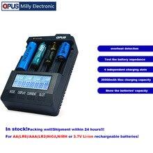 Opus BT-C3100 V2.2 умный цифровой Интеллектуальный 4 ЖК-слота Универсальное зарядное устройство для перезаряжаемых аккумуляторов EU/US штекер