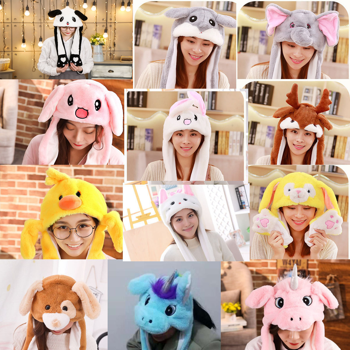 Moving Hat Rabbit Ear Plush Airbag Cap Stitch Pikachu Lighted Hat Kid Gift Mickey Minnie Mouse Doraemon Doll Toy Cosplay Hat