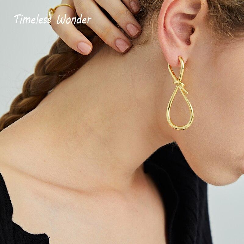 Timeless Wonder Brass Geo Twist Bowknot Statement Drop Earrings Women Jewelry Party Punk Gothic Gold Earings Runway Boho 2297