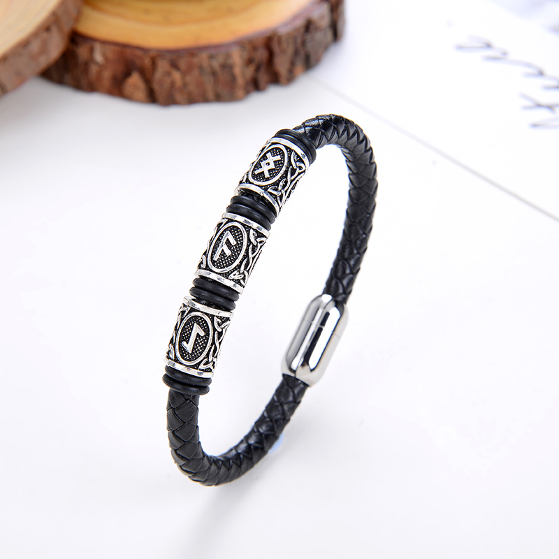 Submo 316L stainless steel rune beaded Viking Viking pagan aromatherapy amulet for men and women bracelet bracelet jewelry