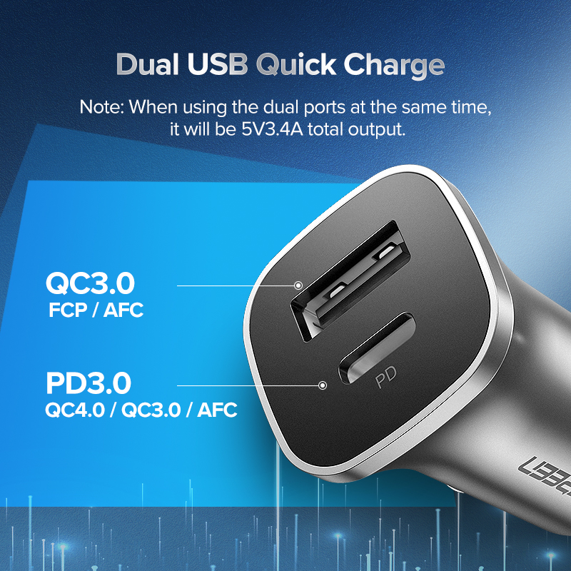 Image 4 - Ugreen Quick Charge 4.0 3.0 QC USB Car Charger for Xiaomi QC4.0 QC3.0 18W Type C PD Car Charging for iPhone 11 X Xs 8 PD Charger-in Car Chargers from Cellphones & Telecommunications