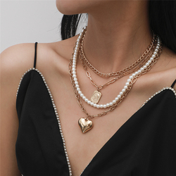 2020 Punk Vintage Layered Heart Pendan Necklace Set Elegant Pearl Link Chains Choker Necklaces for Women Jewlery Collares Femme