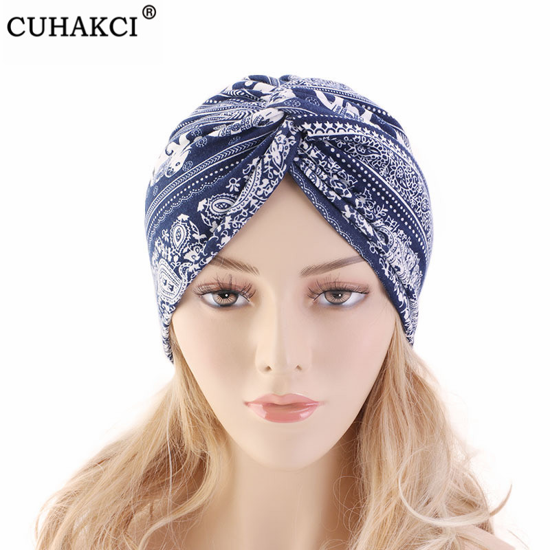 CUHAKCI Spa Cap Muslim Headscarf Women Cancer Chemo Hat Floral Printed Elasticity Beanie New Turban Head Wrap Cap Soft Skullies