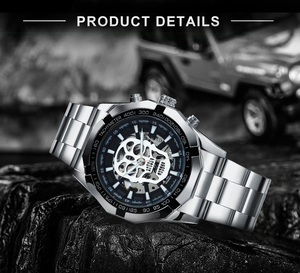 Image 3 - WINNER Official Automatic GOLD Watch Men Steel Strap Skeleton Mechanical Skull Watches Top Brand Luxury Dropshipping Wholesale