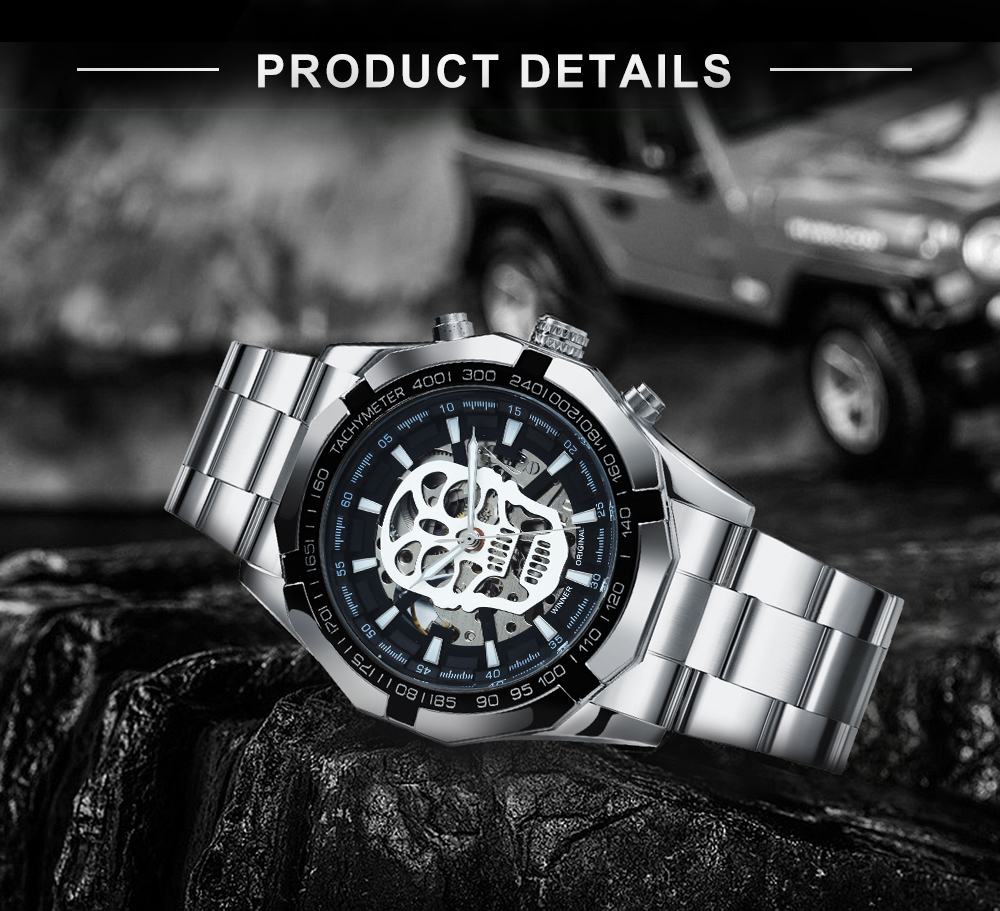 WINNER Official Golden Automatic Watch Men Steel Strap Skeleton Mechanical Skull Watches Top Brand Luxury Dropshipping Wholesale 2