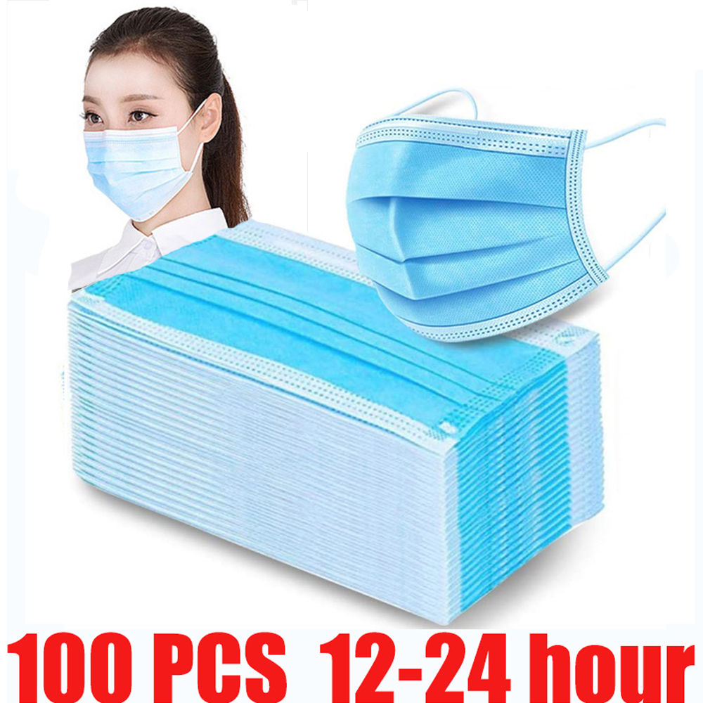 100 Pieces Dustproof Face Mask Disposable Mouth Protect 3 Layers Dust Filter Earloop Non Woven Mouth Mask 12-24 Hours Shipping