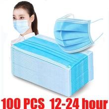 100 stück staubdicht gesicht maske einweg mund schützen 3 schichten staub filter Ohrbügel Non woven mund maske 12 24 stunden versand