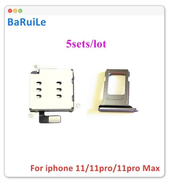 BaRuiLe 5 סטים Dual Sim כרטיס קורא מתאם + כפולה ה sim מגש מחזיק עבור iPhone 11 החלפת חלקים