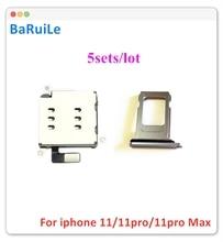 BaRuiLe 5 Juegos de adaptador lector de tarjetas Sim Dual + soporte de bandeja Sim Dual para iPhone 11, piezas de repuesto