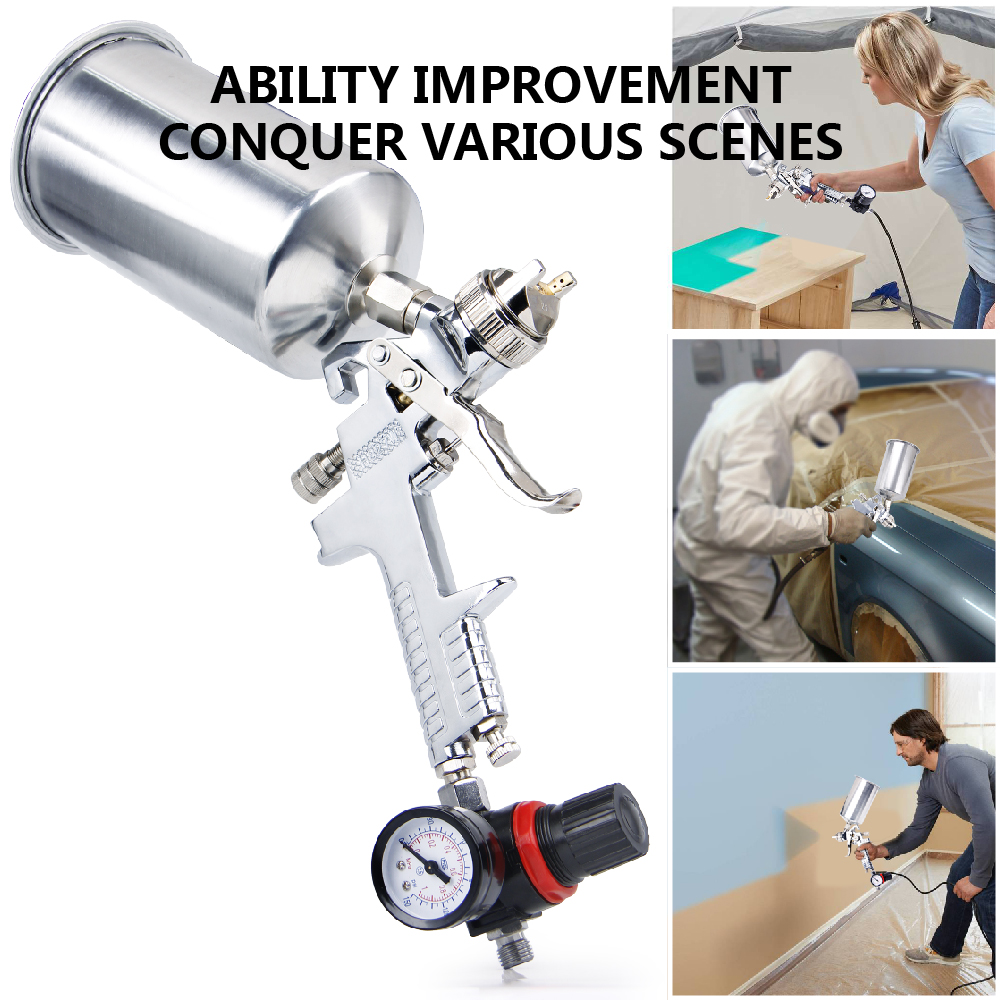 CarBole 2.5mm Spray Gun Kit W/Regulator Auto Paint Primer Metal Flake HVLP Gravity Feed