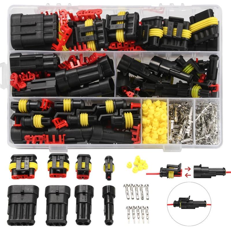 708pcs HID Waterproof Connectors 1/2/3/4 Pin 26 Sets Car Electrical...