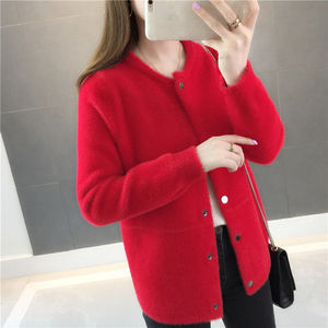 Image 5 - Pelliccia di visone autunno e in inverno maglione cappotto allentato 2020 nuove donne di velluto a maniche lunghe cardigan