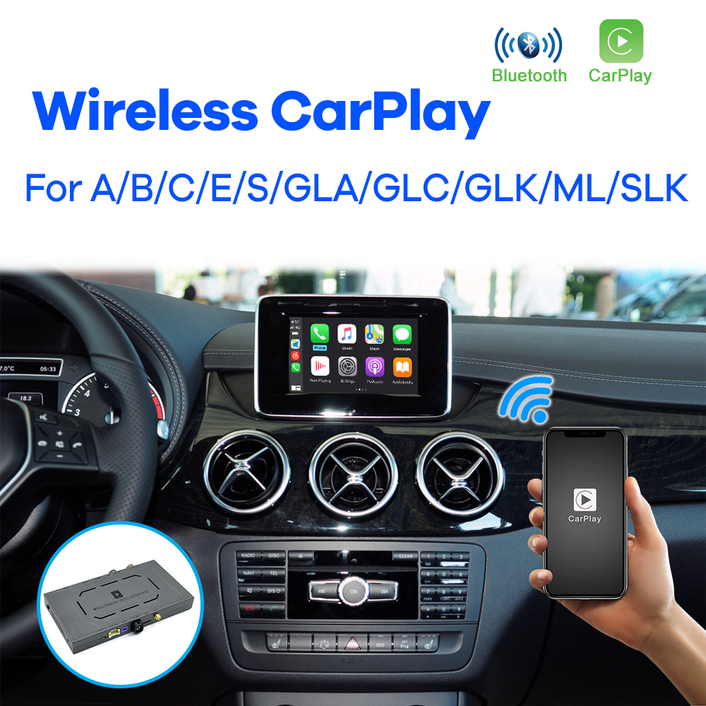 Apple carplay sem fio para mercedes benz a b c s glk gla ml slk classe 2007-2017 ntg4.0 ntg4.5 android módulo automático vídeo