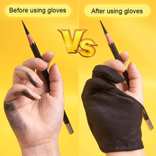 1 pcs Black 2 Finger Anti-fouling Glove Painting Digital Tablet Writing Glove For Art Students / Arts Lover