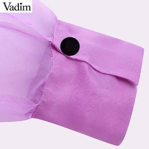 Image 5 - Vadim kobiety chic stałe muszka kołnierz bluzka Organza latarnia rękaw urząd wear koszula damska przepuszczalność top blusas LB420