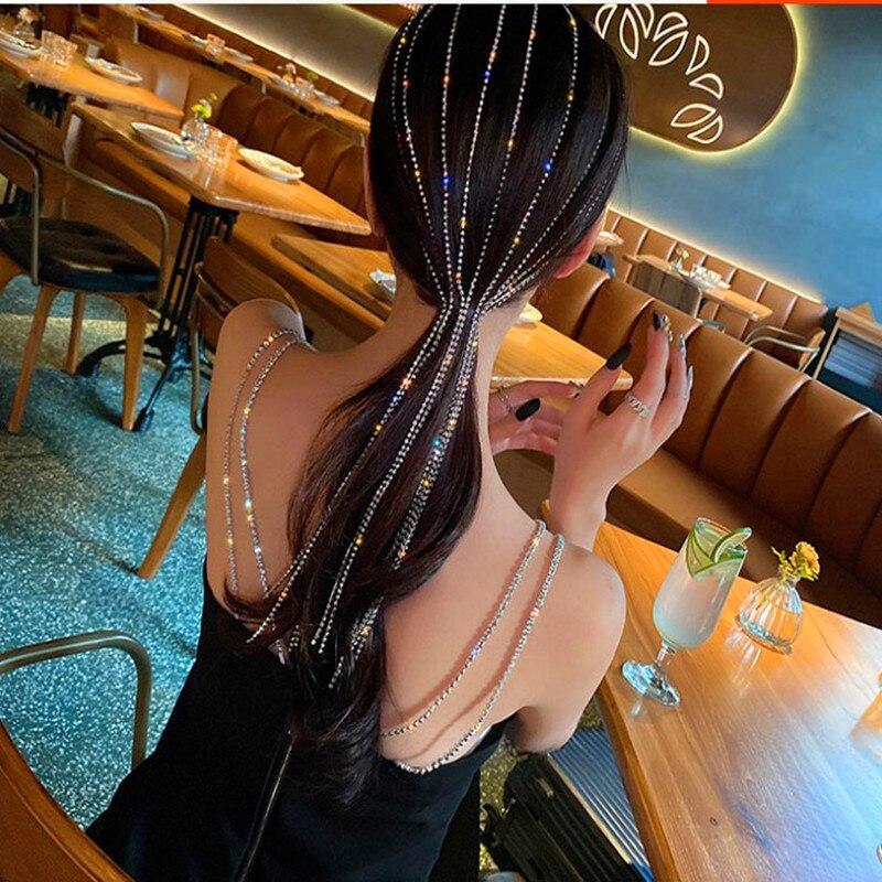 Super Long Flashing Diamond Tassel Headband Fashion Female Headdress Hairpin Hair Band Personality Hair Accessories