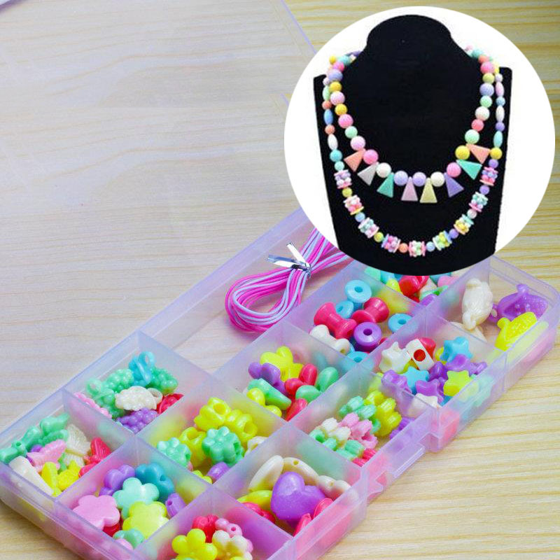 Girl'S Educational Toy CHILDREN'S Ornaments DIY Beaded Bracelet Loose Beads GIRL'S Bracelets Necklace Material Box