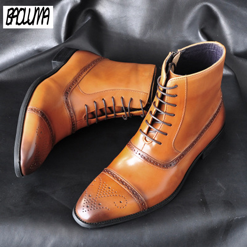 Italy Handmade Classic Men Boots High Quality Leather Men Dress Shoes Outdoor Autumn Man Moccasins Lace-UP Male Men Ankle Boots