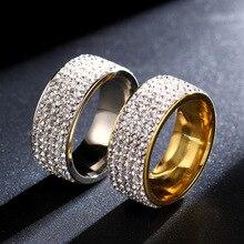 Anillo de acero inoxidable, 5 filas, Color dorado, anillo de cristal, anillos de boda para mujeres, hombres, Jelwery, G-144