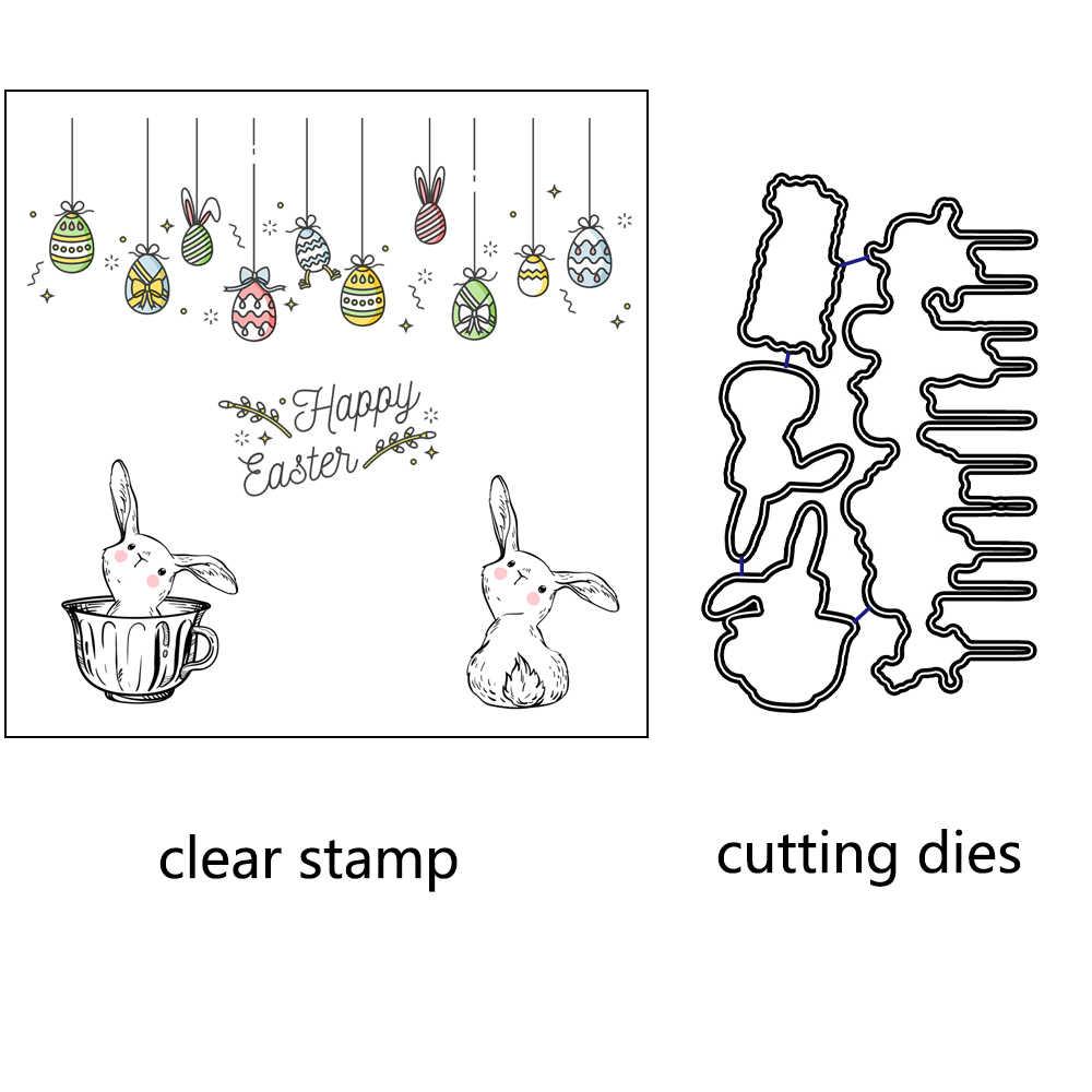 AZSG อีสเตอร์ไข่จี้กระต่ายตัดตายล้างแสตมป์ DIY Scrapbooking Card ทำหัตถกรรมอุปกรณ์ตกแต่ง