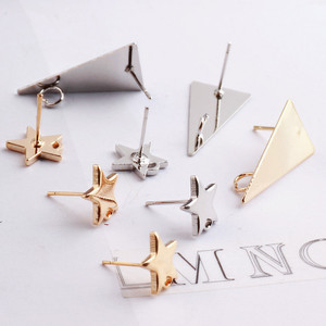 10pcs DIY Stainless Steel Earring Connectors Silver Color Star Stud Earrings Back Earrings Setting for Jewelry Making Findings