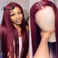 Burgundy Red 99J Long Straight Lace Front Human Hair Wigs For Black Women 150% 250% 13x6 Deep Part HD Transparent Frontal Wig