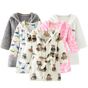 Boys and girls Flannel pajamas robe Autumn and winter Children bathrobe soft comfortable Kids baby cute homewear clothes 2-8 Y