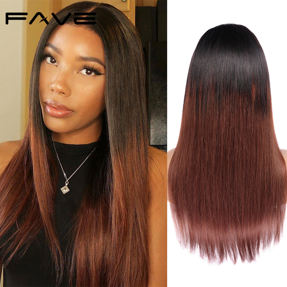FAVE Color Wig 4*4 Lace Closure Straight Remy Human Wig 150% Density 1B/#33 Ombre Color Natural Hairline Free Shipping For Women