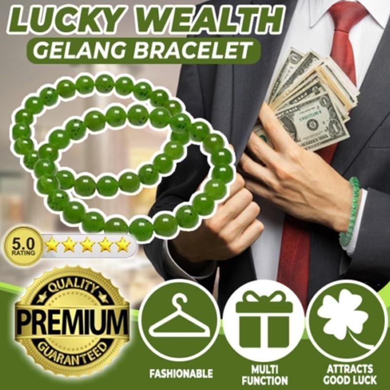 Natural Green Lucky Wealth Gelang Bracelet Beaded Bracelet Charm Lucky Wealth Bracelet for Men and Women Trendy Jewelry 1