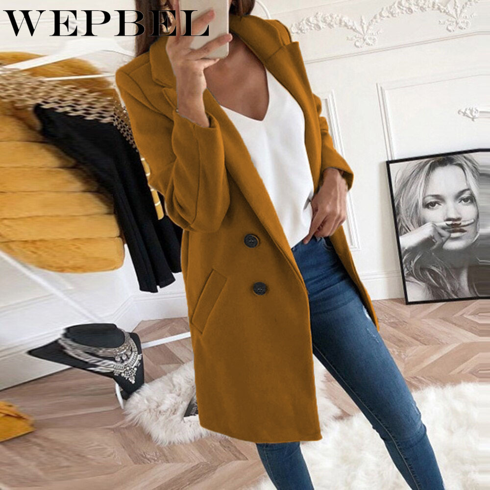 WEPBEL Autumn and Winter New Woolen Women Solid Color Long Coat Long Double-breasted Women Turn-down Collar Slim Jacket