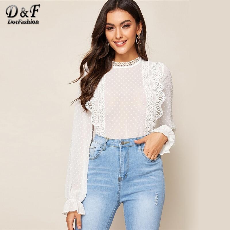 Dotfashion Casual Contrast Lace Ruffle Trim Blouse Women 2019 Autumn Flounce Sleeve Blouses Ladies White Swiss Dot Detail Top