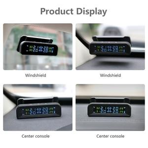 Image 3 - نظام مراقبة ضغط الإطارات للسيارات بالطاقة الشمسية عالية الوضوح لاسلكيًا من janplace TPMS عرض تشغيل مع الاهتزاز المزود بـ 4 أجهزة استشعار