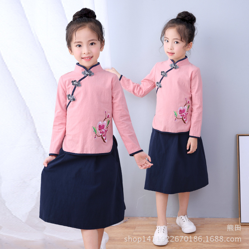Girls Chinese Clothing 2019 Autumn Children Chinese Costume Long Sleeve Baby Girls Chinese Style Chinese Costume Children The Re