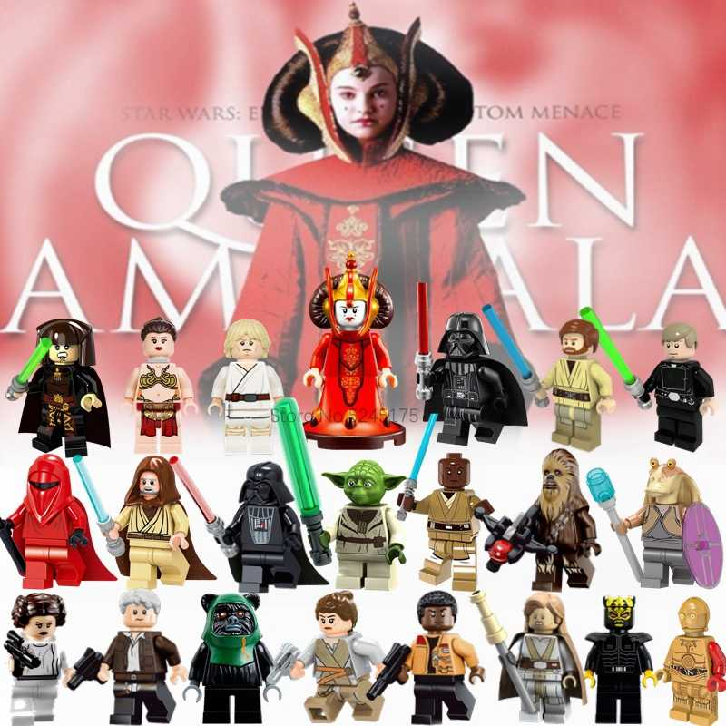 Voor Star Wars Figuren Sets Padme Amidala Darth vader Luke Leia Han Solo Yoda Obiwan Starwars Film Bouwstenen Model speelgoed