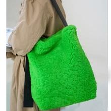 Women Bags Lazy-Bucket-Bag Shoulder-Bag Lamb-Hair Green Niche-Design Wool 01-Sb-Xzlsyl