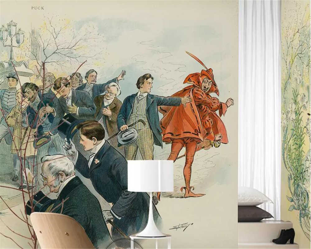 wellyu Custom large 3d mural Nordic simple fashion hand-painted gentleman lady woman oil painting background wallpaper