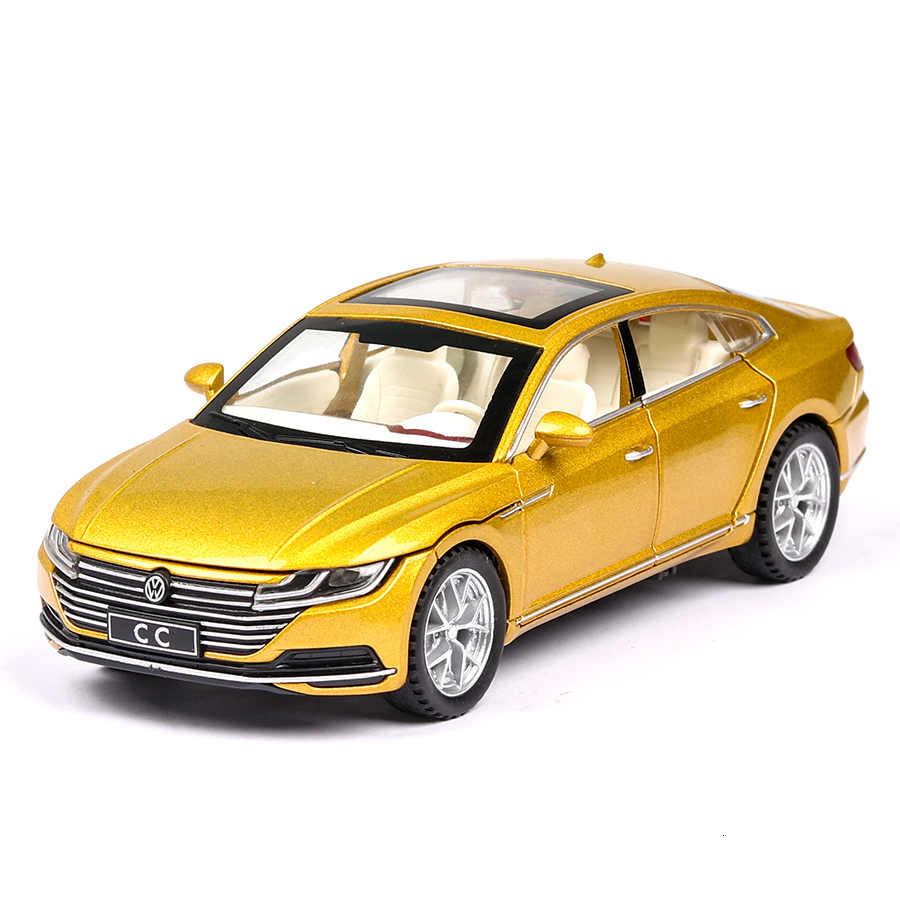 1/32 Diecast Toy Vehicle VW CC Alloy Toy Car Model With Sound And Light Pull Out Metal Body Rubber Band 6 Doors Can Be Opened
