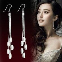 цены на Elegant Long Drop Earrings for Women Female Tassel Simulated Pendant Earrings Silver Spring Collection Waterdrop Long  Earrings  в интернет-магазинах