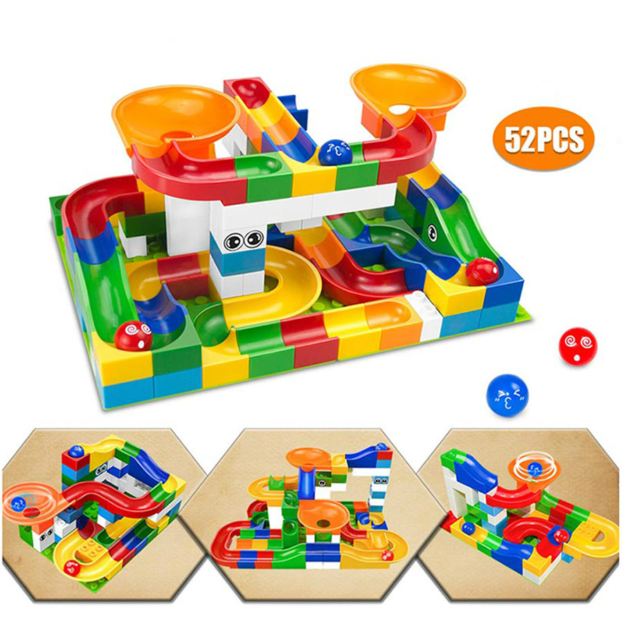74-296PCS Marble Race Run Block Maze Ball Track Building Blocks Funnel Slide Assemble DIY Bricks Toys For Children Gifts