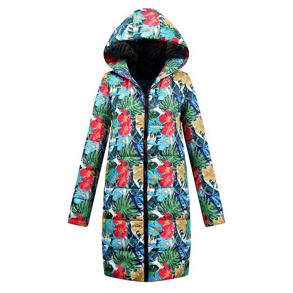 New Winter Jacket Women Thick Light Weight Cotton Print Hooded Casual Down Coat Zippers Long Fashion Warm Female Outwear 111#4