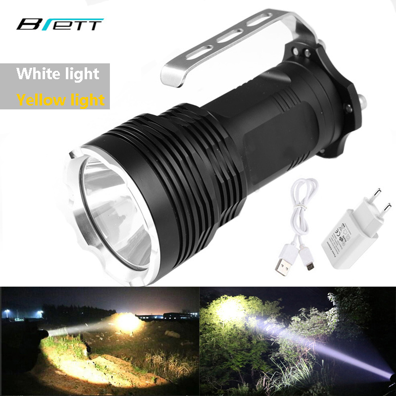 Flashlight Cree Xm-l2 White Or Xml T6 Yellow Optional USB Direct Charging Outdoor Camping Hunting LED Torch