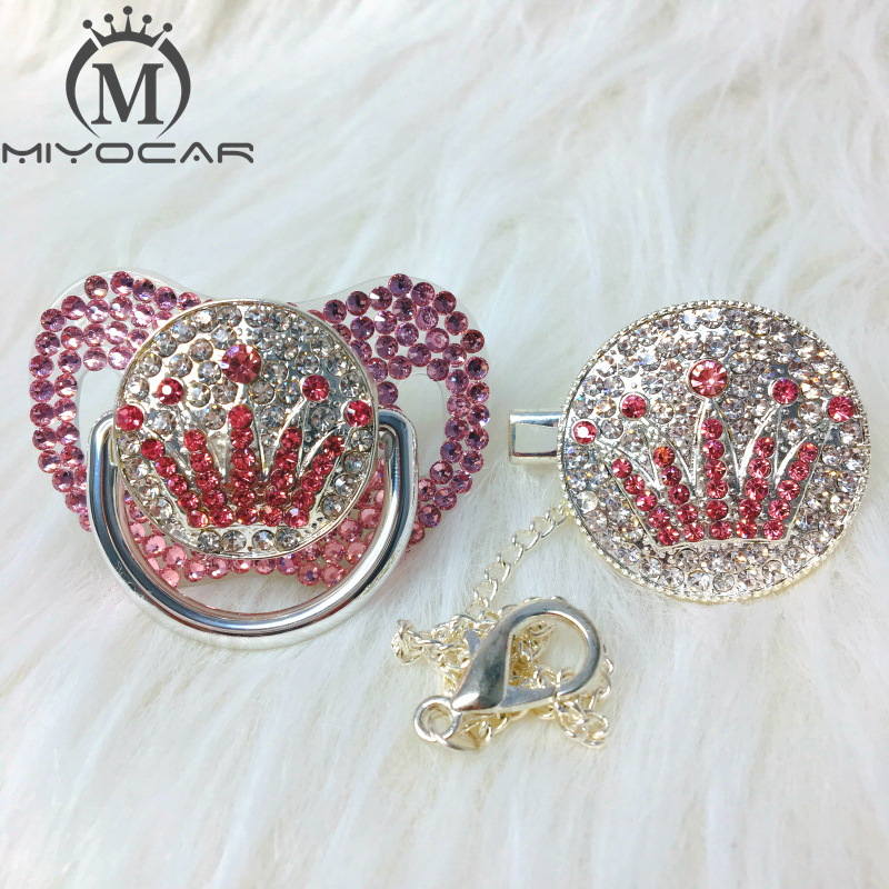 Miyocar rosa bling rosa coroa strass chupeta