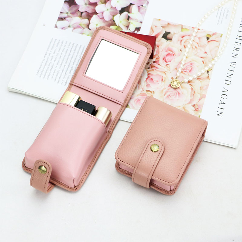 New Fashion Women Cow Leather Lipstick Storage Case Travel Lipstick Organizer Case With Mirror 3pcs Lip Rough Leather Holder