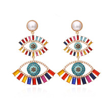 Punk Exaggerated Eye Crystal Drop Earrings For Women Fashion Colorful Eye Big Pearl Statement Earrings Party Jewelry Gifts 2020 summer elegant pearl drop earrings for women fashion big pendant statement freshwater pearl earrings party jewelry gifts