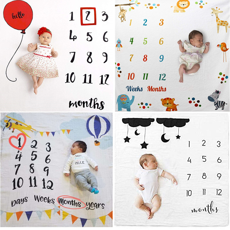Baby Milestone Blanket Growth Milestone Blanket Photography Prop Background Cloth Newborn Infant Baby Photography Blanket